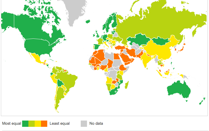 Map of Overall Gender Gap Courtesy of BBC News